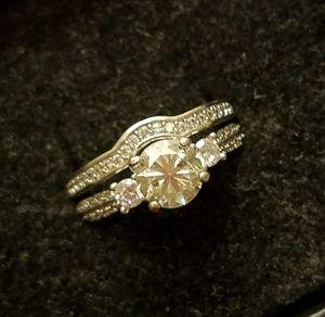 Jewelry - 3 Moissanite Wedding Set Sterling 925 - Sz 10